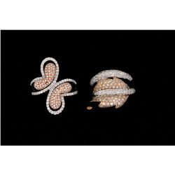 RING: Lady's 18kw&r pave diamond butterfly motif fashion ring; 248 rb dias, 1.0mm - 1.2mm = est 1.18