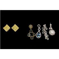 EARRINGS: Pair lady's 14ky treated yellow diamond earstuds; 11.81mmOD square shape; 78 rb irid yello