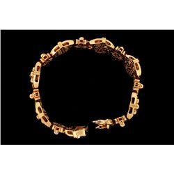 BRACELET: Gents 14ky diamond link bracelet; 35 rb dias, 1.7mm = est 0.70cttw, Fair/I-K/I1-I2; 190 ba