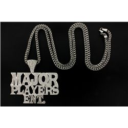 "PENDANT: Men's 10kw ""Major Players Ent."" diamond pendant; 947 rd dias, 0.9mm to 1.0mm = est 4.70cttw"