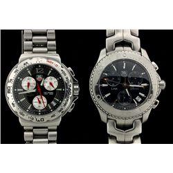 WATCH: Men's st.steel Tag Heuer Link model chronograph wristwatch; dark blue dial & sub-dials (3); u
