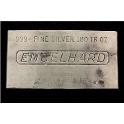 BULLION: Engelhard 99.9 silver 100 troy ounce bar; Serial P612983; 3105.5 grams.