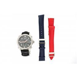 WRISTWATCH: Mid-size st.steel Jacob & Co. 5 time zone diamond wristwatch; bezel w/ 54 rb dias, 2.0mm