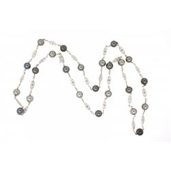 NECKLACE:  [1] 18KWG fancy link chain necklace with (24) 8.0 - 8.5mm black Tahitian pearls and set w