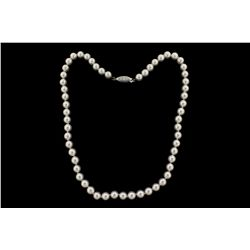 PEARLS:  [1] Single strand of 7.0 - 7.5mm fine quality Akoya pearls with an 18KWG fishhook clasp set