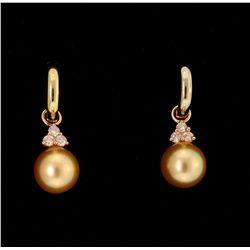 EARRINGS:  [1 pair] 14KYG Na HoKu huggie style hoop earrings with removable pendants that are set wi