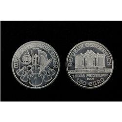BULLION: Twenty (20) 2008 Austrian Philharmonic 1.50 Euro coins; 999 fine silver, 1 ounce each (20 t