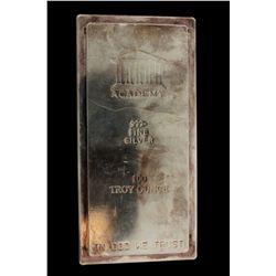 BULLION: US Academy 100 troy ounce 999 fine silver bar; Serial No 008728.