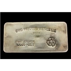 BULLION: US Ohio Precious Metals LLC 100 troy ounce 9995 fine silver bar; no serial number.