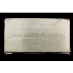 BULLION: US Engelhard 100 troy ounce 999 fine silver bar; Serial No P999126.    EXTRUDED