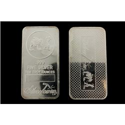 BULLION: Ten (10) US SilverTowne 10 troy ounce 999 fine silver bars; no serial numbers.