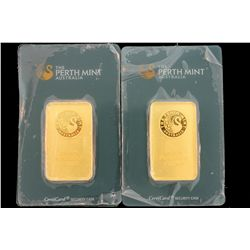 BULLION: Two (2) Perth Mint Australia fine gold bars; 1 ounce each; 9999 AU, Serial numbers 078238 &