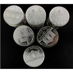 BULLION: Nineteen (19) 2008 Austrian Philharmonic 1.50 Euro coins; 999 fine silver, 1 ounce each (19