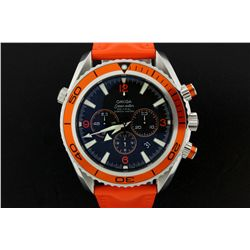 WATCH: Men's st.steel Omega SeaMaster Planet Ocean chronograph wristwatch; 45.65mm case; black dial