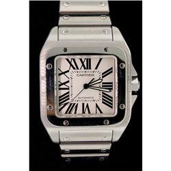 WATCH: Men's st.steel Cartier Santos 100 wristwatch; 38.3mm square case; white dial w/ black Romans;