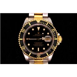 ROLEX: Men's st.steel & 18ky Rolex O.P. Submariner Date wristwatch; black lumin dial; unidirectional
