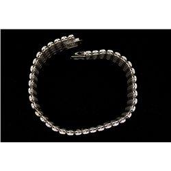 BRACELET: Men's 10kw illusion bezel set diamond link bracelet; 160 rb dias, 1.9mm-2.0mm = est 4.56ct