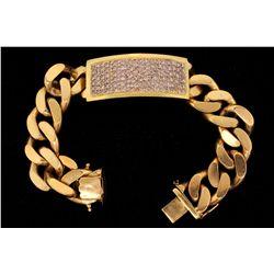 BRACELET: Men's 18ky ID bracelet w/ pave diamond center piece; 147 rb dias, 1.3mm to 1.9mm = est 3.0