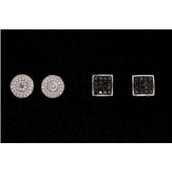 EARRINGS: Pair lady's 18kw diamond cluster earstuds; 68 rb dias, 3.2mm (2) & 1.2mm - 1.4mm = est 0.9