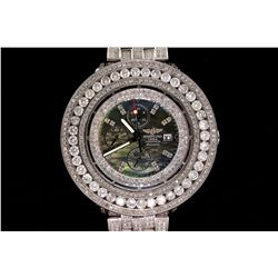 WATCH: Men's st.steel Breitling AeroMarine Super Avenger wristwatch w/ aftmkt rhinestone & diamond a