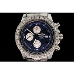 WATCH:  [1] Gts stainless steel Breitling Super Avenger Chronometer automatic watch with date, blue