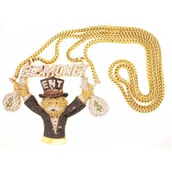 "NECKLACE: Men's 14ky ""E-Z Money Ent"" banker with money bags motif pave treated black, yellow, orange"
