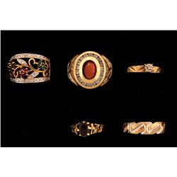RING:  [1] 14KY & WG ring set with synthetic clear stones and 1 synthetic orange  cats eye oval ston