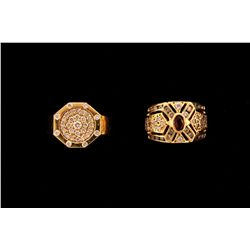 RING:  [1] 14KYG ring set with 33 rd dia.s, TWA 0.55 cts, H-J, SI2-I1;  size 10 1/2; 10.6 grams