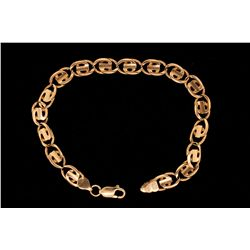 "BRACELET:  [1] 14KYG fancy link chain bracelet with a 10KYG lobster claw clasp; 9 1/4""s; 18.2 grams"