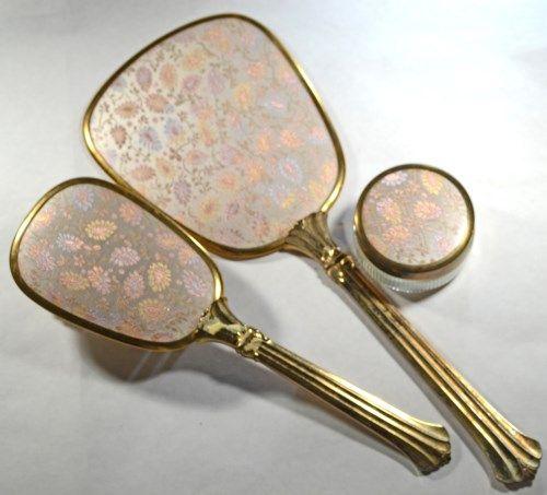 Vintage Vanity Set Brush And Mirror And Jar