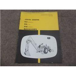 John Deere 93 Series A, 94, 95 Series A Backhoes