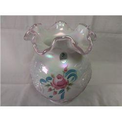 "Fenton Vase - ""Roses"" - Handpainted"