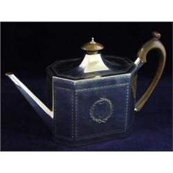 A GEORGIAN FACETED SILVER TEA POT: by Henry Chawner, London 1813,  14.5oz gross Est.120-170...