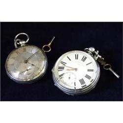 A GENTLEMAN'S KEY WIND SILVER FUSEE POCKET WATCH: number 30802, the  machined silver dial with se...