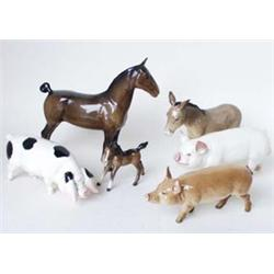 "A BESWICK HORSE AND FOAL: the horse with docked tail, 7.5"" high and  3"" high (2) Est.40-60..."