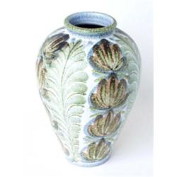 A DENBY VASE: circa 1950, designed by Glyn Colledge, with all over  flowerhead and leaf design, 1...