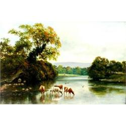 EDWARD CAWTHORNE (1849-1914) OIL ON CANVAS: a river scene with cattle  watering, signed and dated...