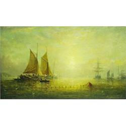 ADOLPHUS KNELL (? - c.1890) OIL ON ARTIST'S BOARD: Shipping at  sunset hauling in the nets, signe...