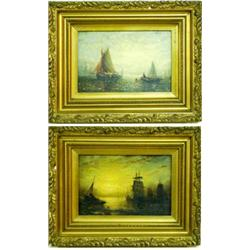 ADOLPHUS KNELL (? - c.1890) A PAIR OF OILS ON BOARD: shipping at  sunset and trawler hauling in t...
