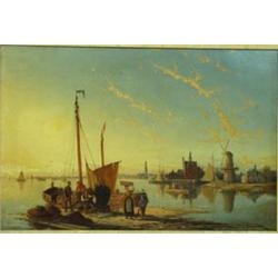 "WILLIAM RAYMOND DOMMERSEN (1850-1927) OIL ON CANVAS: a Dutch river  scene, signed, 15.25"" x 23"" E..."