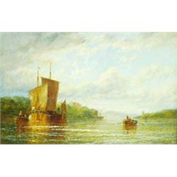 """GEORGE STAINTON (EXHIBITING 1860-1890) OIL ON CANVAS: On the Humber,  11.25"""" x 17"""" Est.800-1200..."""