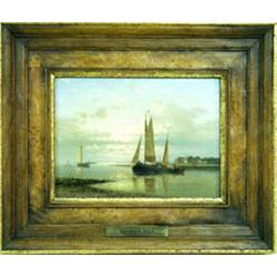 """ABRAHAM HULK Snr (1813-1897) OIL ON PANEL: Shipping in a calm estuary,  signed, 5.75"""" x 7.75"""" Est..."""