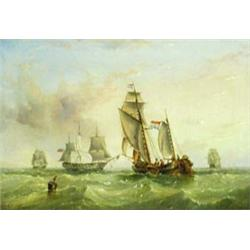 HENRY REDMORE (1820-1887) OIL ON BOARD: Dutch fishing yawl and  British War Ship, signed and date...