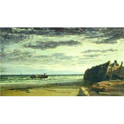 ARTHUR JOSEPH MEADOWS (1843-1907) OIL ON CANVAS: the coast near ?,  signed and dated 1876, inscri...