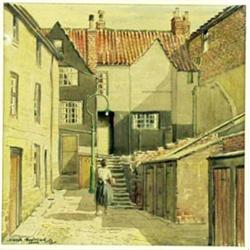 JOSEPH APPLEYARD (1908-1960), A WATERCOLOUR: a yard scene with figure  of a lady, signed and date...