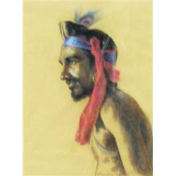 """J P GONSALVES (20TH CENTURY) A PASTEL DRAWING: a native man, signed  and dated 1953, 16.5"""" x 12.2..."""