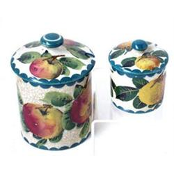 """TWO WEMYSS COVERED PRESERVE POTS: the one decorated apples, 5"""" high,  the smaller peaches, 2.75""""..."""