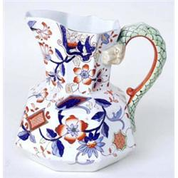 """A KEELING & CO SNAKE HANDLED IRONSTONE JUG: octagonal, in the manner  of Masons Ironstone, 7"""" hig..."""