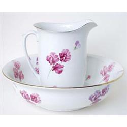 A GRIMWADES WINTON WARE TOILET SET: jug and bowl, chamber pot,  covered soap dish and toothbrush...