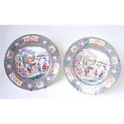 A PAIR OF FINE 19TH CENTURY PORCELAIN PLATES: by Ridgway & Co,  decorated in Cantonese style, the...